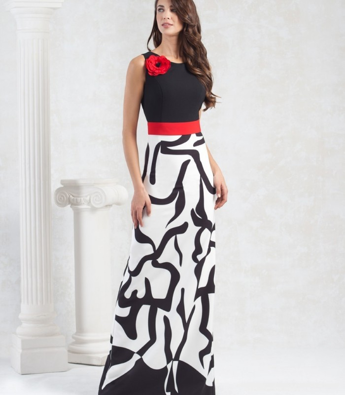 Long black and white dress with red belt