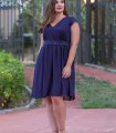 Navy blue dress with lace sword