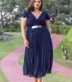 Vestido midi azul marino y falda plisada