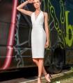 Straight dress with deep neckline