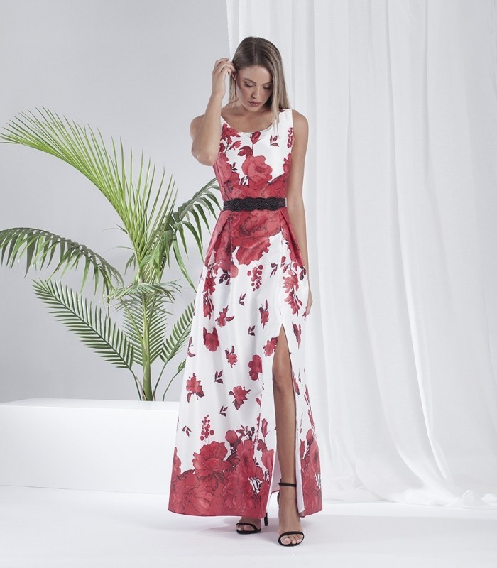 Long printed dress with round neck