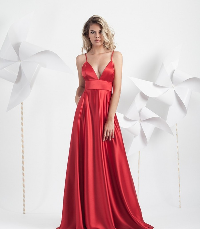 Long red dress with deep neckline