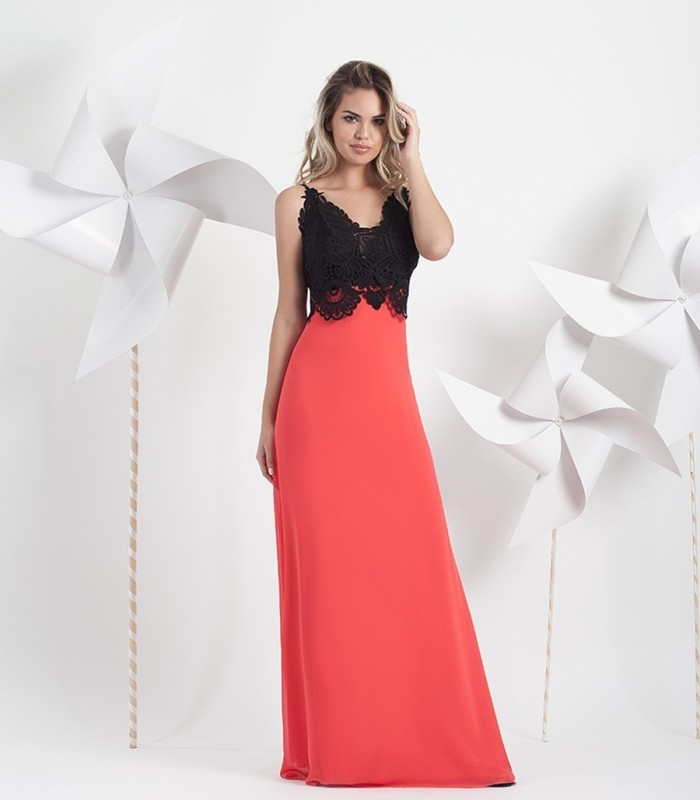 Vestido largo rojo y negro crochet