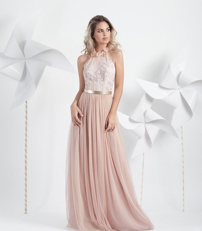Pink halter tulle maxi dress
