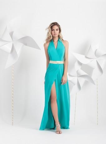 Vestido largo turquesa con abertura lateral