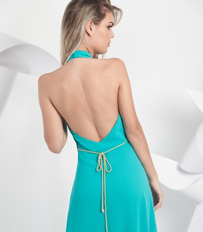 Turquoise maxi dress with side slit