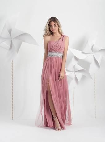 Pink long tulle dress with asymmetric neckline