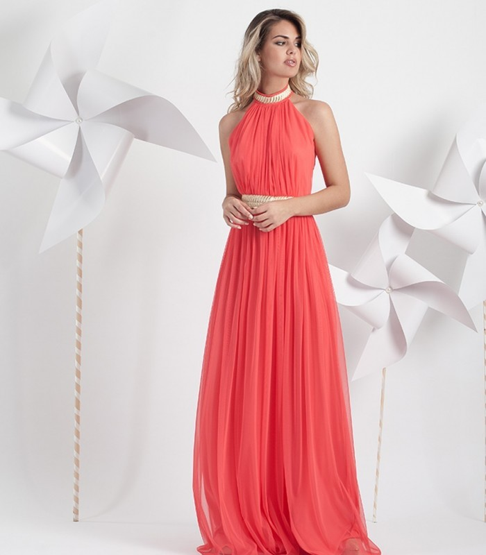 Coral tulle halter neck dress