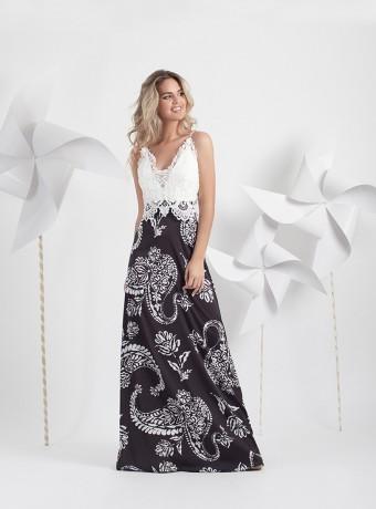 Black and white crochet dress