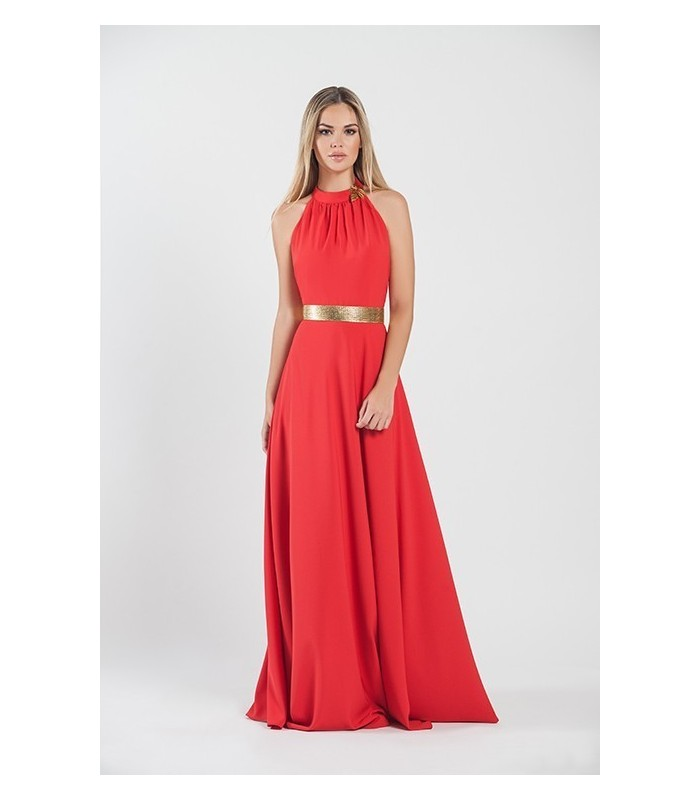 Long red backless dress