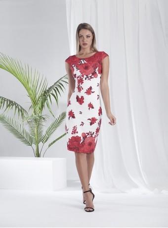 Vestido corto estampado de flores rojas fondo blanco