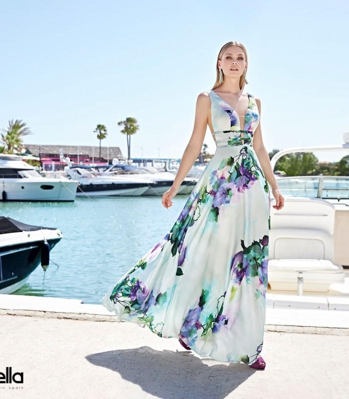 vestido largo  estampado en fondo verde agua y escote profundo