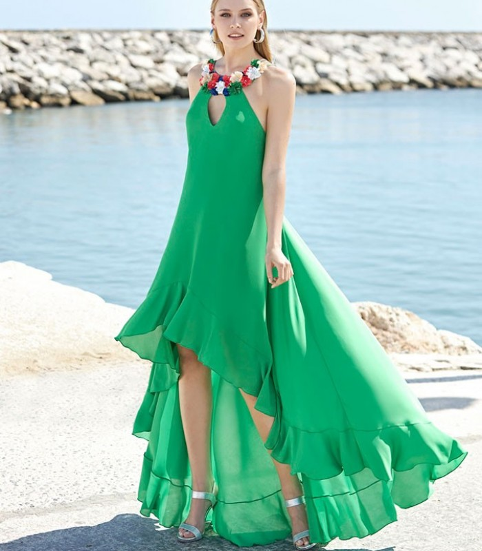 Green flower embellished dress with halter neck