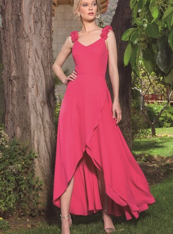 Asymmetric midi dress with strap sleeve