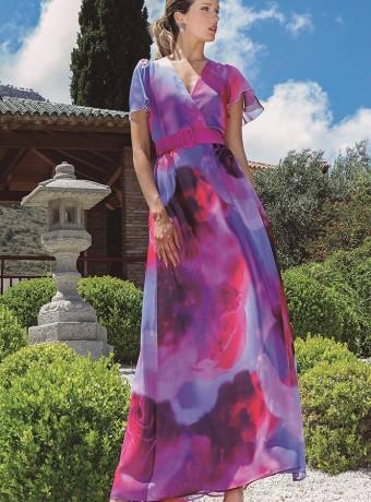 Olimara floral print dress with wrap neckline