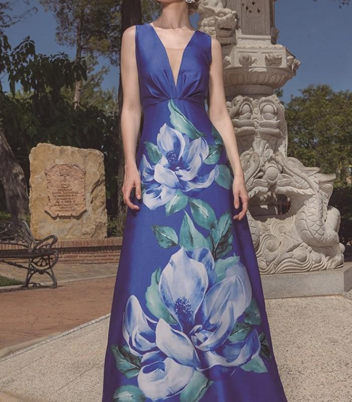 Long blue dress with deep neckline