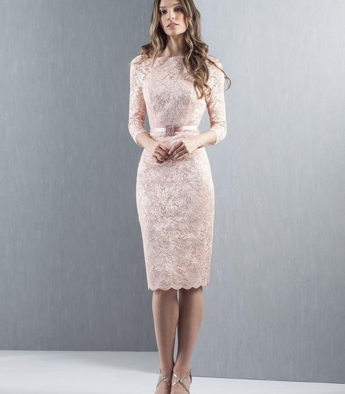 Nude lace dress with french sleeves