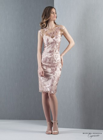 Short straight dress with sweetheart neckline and embroidery
