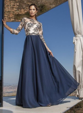Long navy dress and lace top