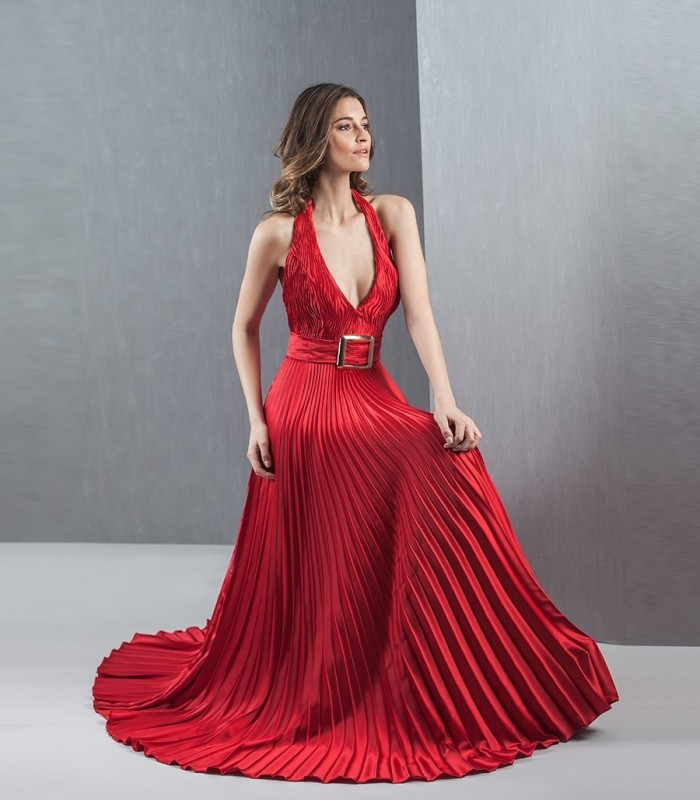 Long red pleated dress