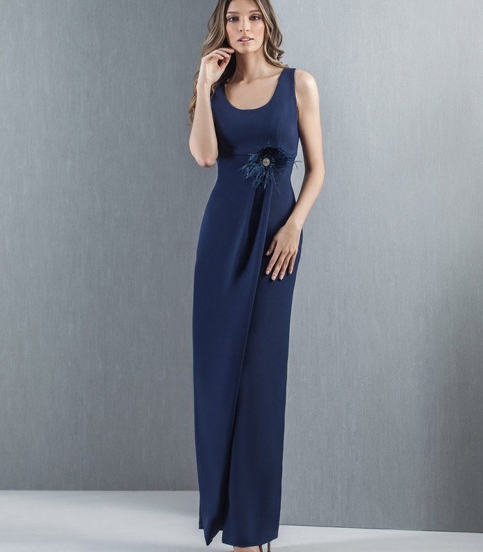 Long navy dress with ruffle on the skirt