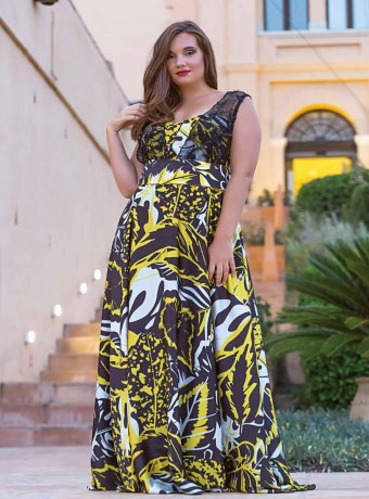 Yellow and black print long dress
