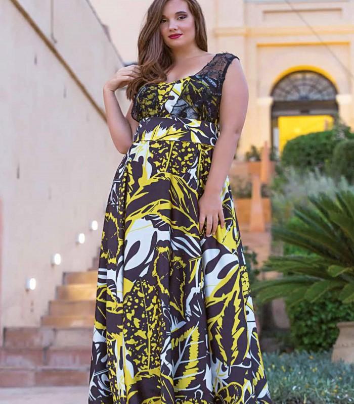 Yellow and black print long dress