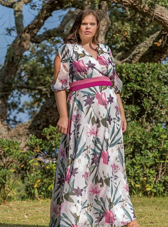 Maxi dress Trios with crossed neckline