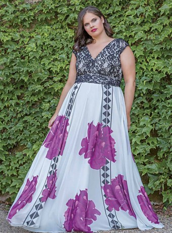 Maxi dress Trios with buganvilla background and floral print