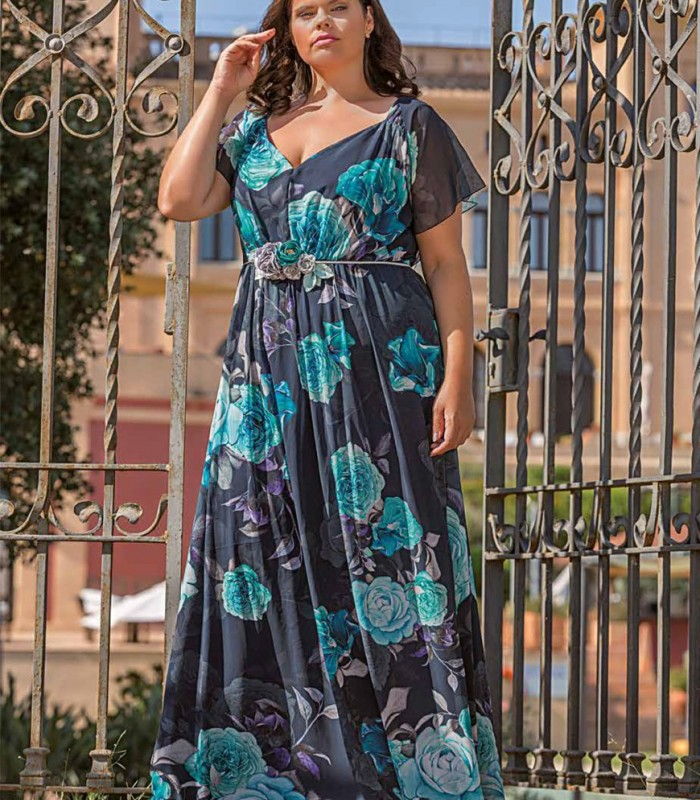 Maxi dress Trios with indigo blue background and flower print