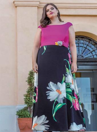 Vestido largo Celestina con top liso y falda estampada