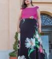 Maxi dress Trios with plain top and print skirt