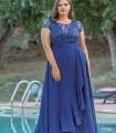 Vestido largo azul  Celestina con escote profundo