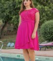 Dress with stone embellished neck in fucsia