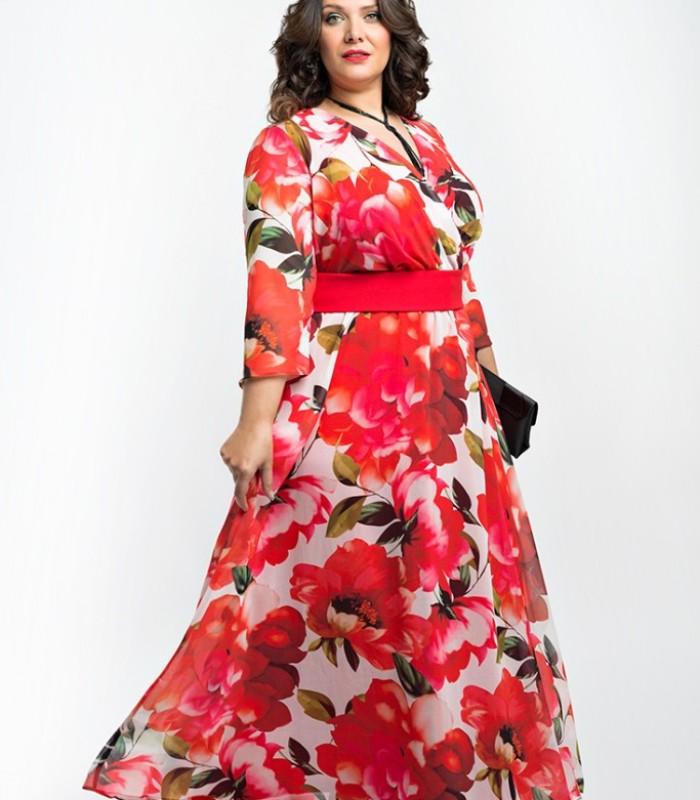 Floral print long dress with wrap neckline