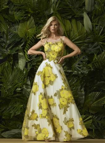 Organza long dress yellow roses