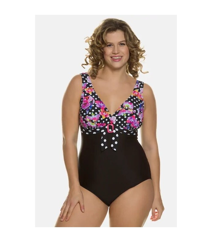 Polka dot swimsuit with flowers and black