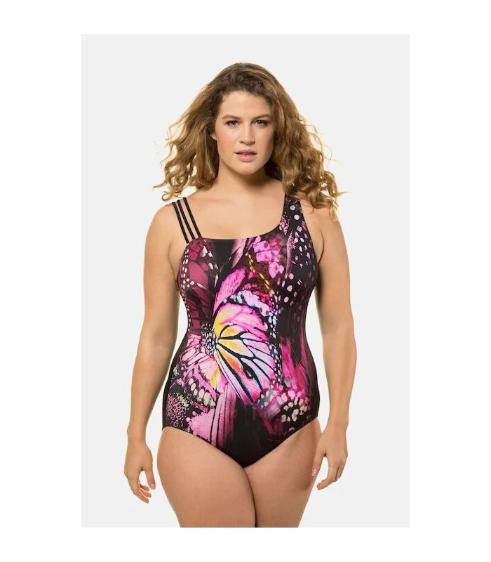 Triple strap swimsuit with floral front