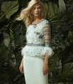 embroidered and feathered short dress
