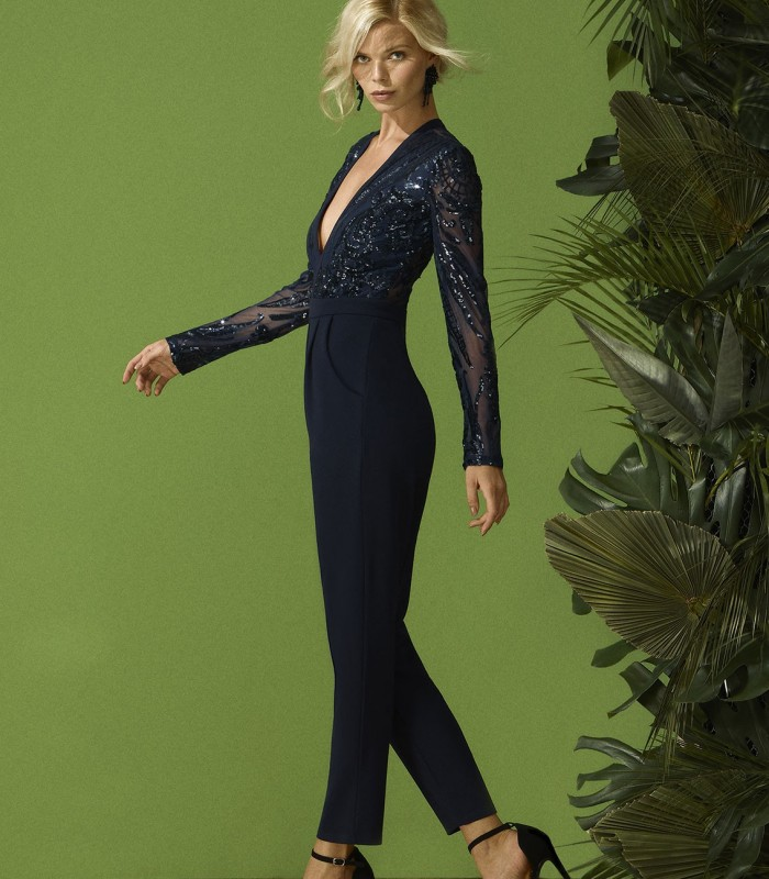 Sequin embroidered party jumpsuit