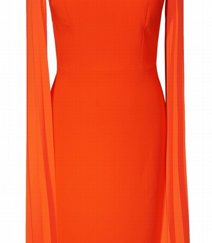 Orange short dress in crepe and pleated chiffon
