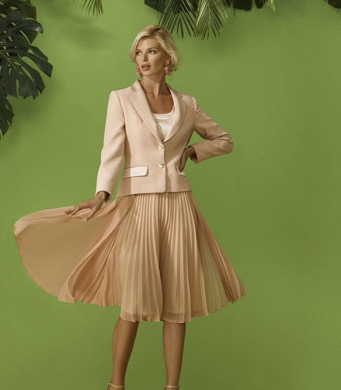 Salmon dress and blazer set