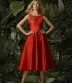 orange midi dress with flared skirt