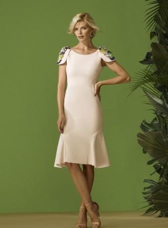 jewel neckline dress with shoulder pad
