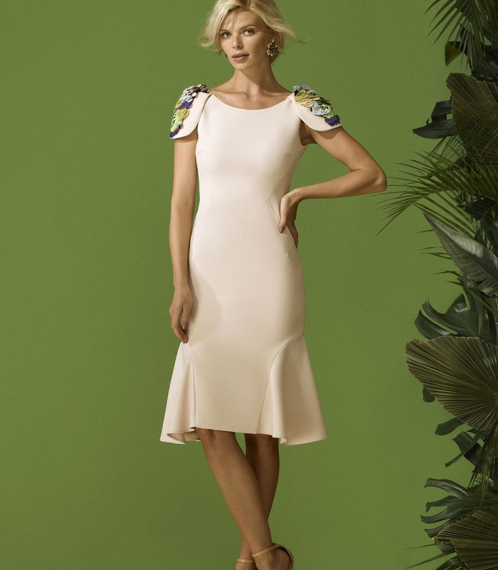 jewel neckline dress with shoulder pad
