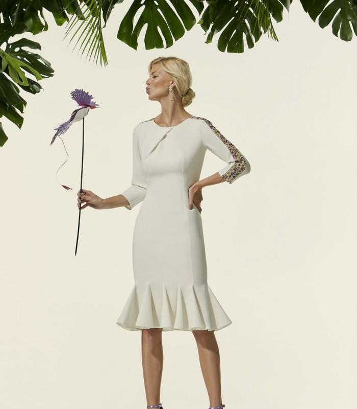 Short long-sleeved dress with embroidered tulle transparencies
