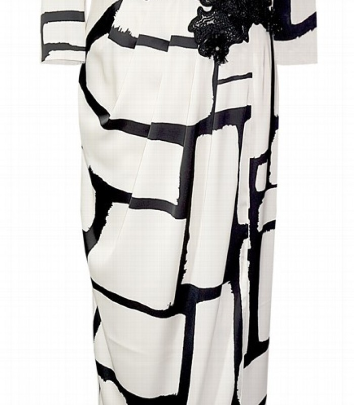 Long printed black and white dress