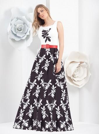 printed long skirt black dress