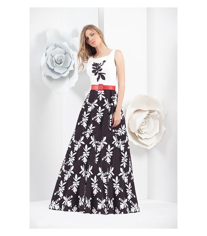 vestido largo falda negra estampada