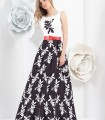 printed long skirt black dress